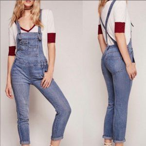 Free People washed denim overalls jeans skinny leg